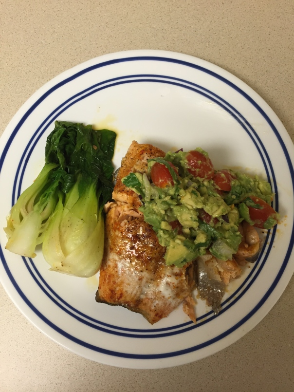 baked salmon with guac and baby bok choy